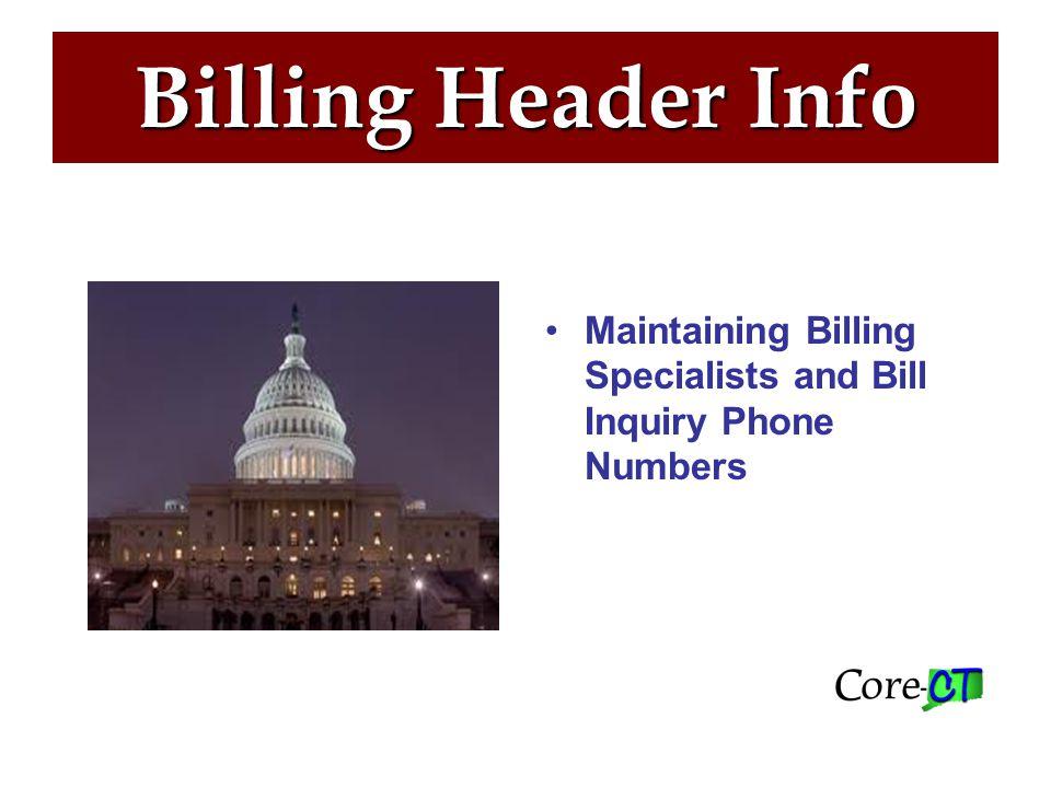 Billing Header Info