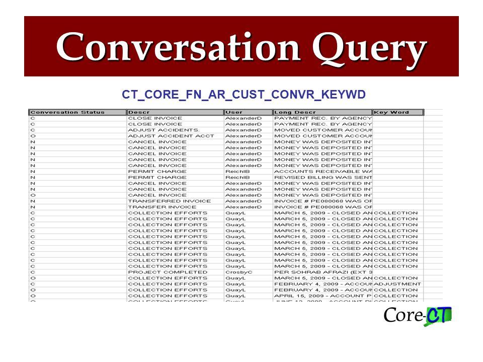 Conversation Inquiry Accounts Receivable> Customer Interactions> Conversations>View/Update Conversations
