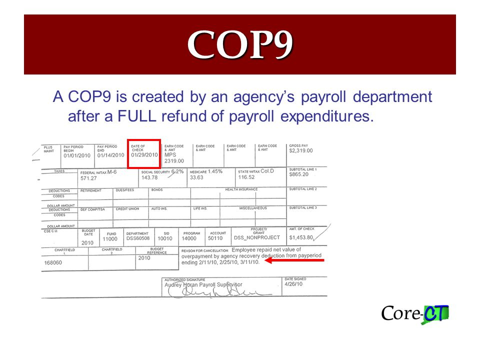 COP9 Accounting Entries If the check date is prior fiscal year: Budgeted Funds: Use account 44430 on deposit Non-Budgeted Funds: Use account 50235 on deposit If the check date is current fiscal year: Budgeted Funds: Use account 50235 on deposit Non-Budgeted Funds: Use account 50235 on deposit Payroll Check Date