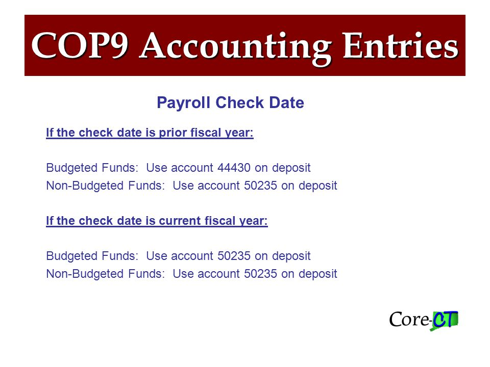 COP9 Accounting Entries All payroll recoveries must be entered on a Direct Journal.