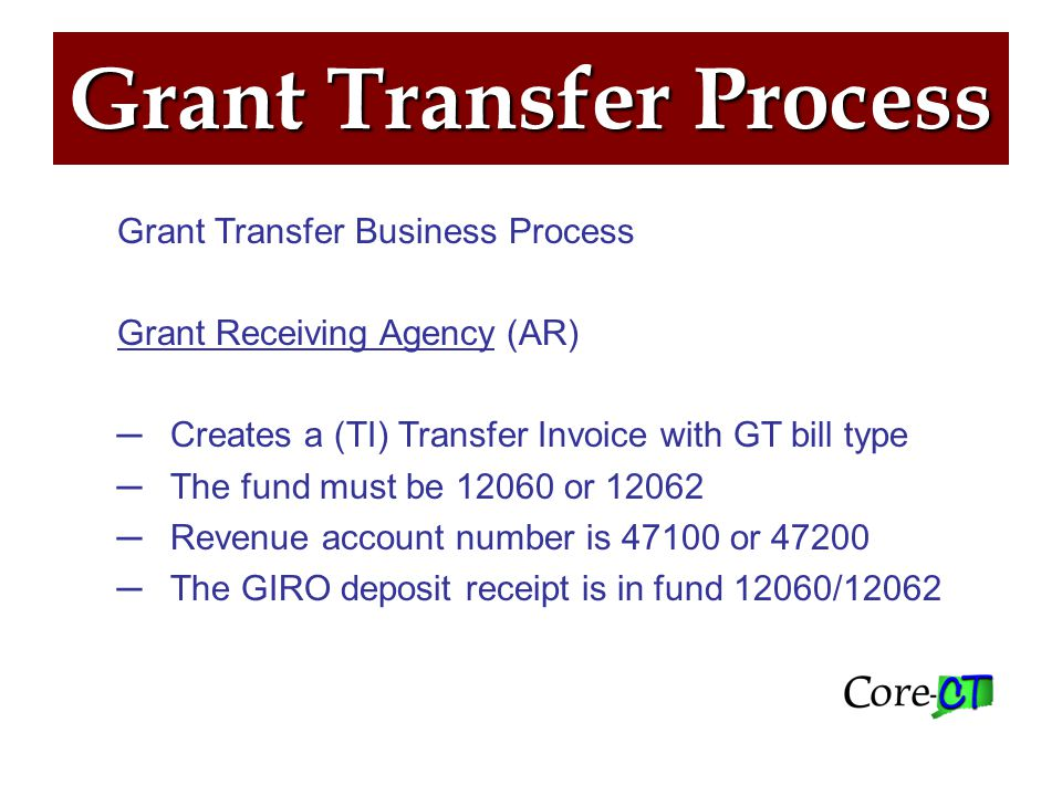 Grant Transfer Process Grant Transfer Business Process- Grant Paying Agency (AP) In the AP invoice field, enter the exact same billing invoice number beginning with GT and use account code 55110.