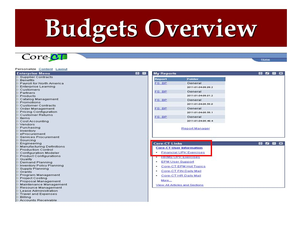 UPK for Budget Overview