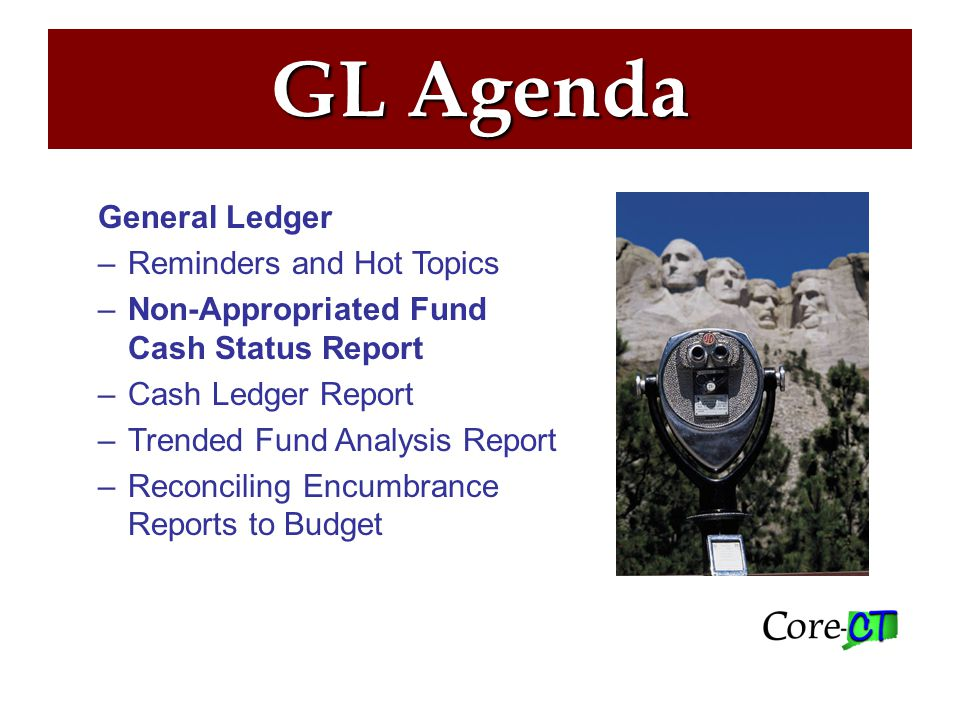 Non-Approp Cash Status Report –Designed to meet reporting requirements specified under Section 10 (c) of Public Act 09-07 of the September Special Session –Appears each month in Report Manager for all users with the CT GL REPORT_AGY role –May be run on an ad hoc basis