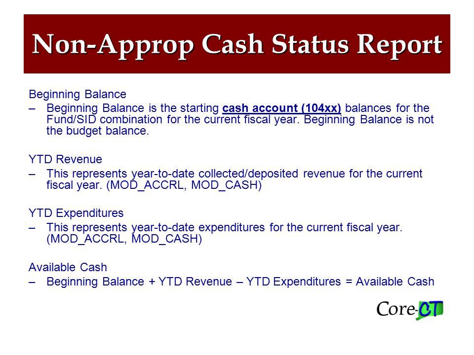 Non-Approp Cash Status Report