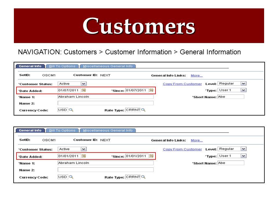 Customers Creating a Customer Customer Notes