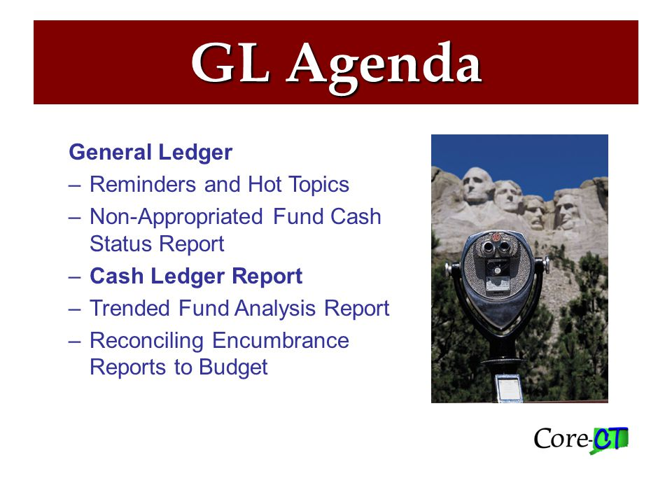 Cash Ledger Report –Used to view monthly cash ledger activity and balances –Includes the payments, receipts, and transfers that affect cash account balances –Can be run by fund, SID and DeptID on a fiscal year and accounting period basis.