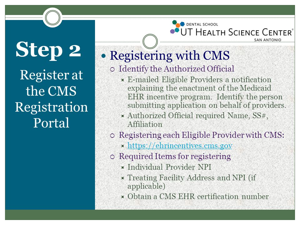 Step 2 Register at the CMS Registration Portal  After registration of the Authorized Official on CMS website, an approval was required by each Eligible Provider.