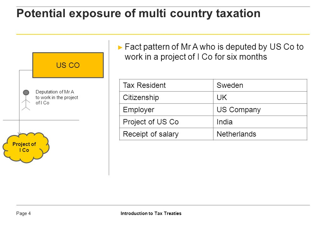 Introduction to Tax TreatiesPage 5 Need for Rational Cross Border Taxation ► Multi country taxation injures flow of cross border activities ► Double Tax Avoidance Agreement (DTAA) eliminates or mitigates hardship caused by multi level taxation ► Home country tax is obligation; host country tax is a cost ► Home country is country of residence (COR) ► Host country is country of source (COS) ► Usual for COR to provide unilateral relief ► Mitigation can result in relief from double taxation, but, not refund by COR