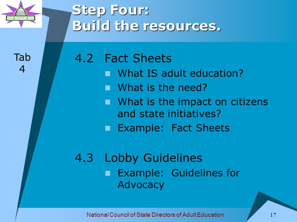 National Council of State Directors of Adult Education 18 Step Four: Build the resources.