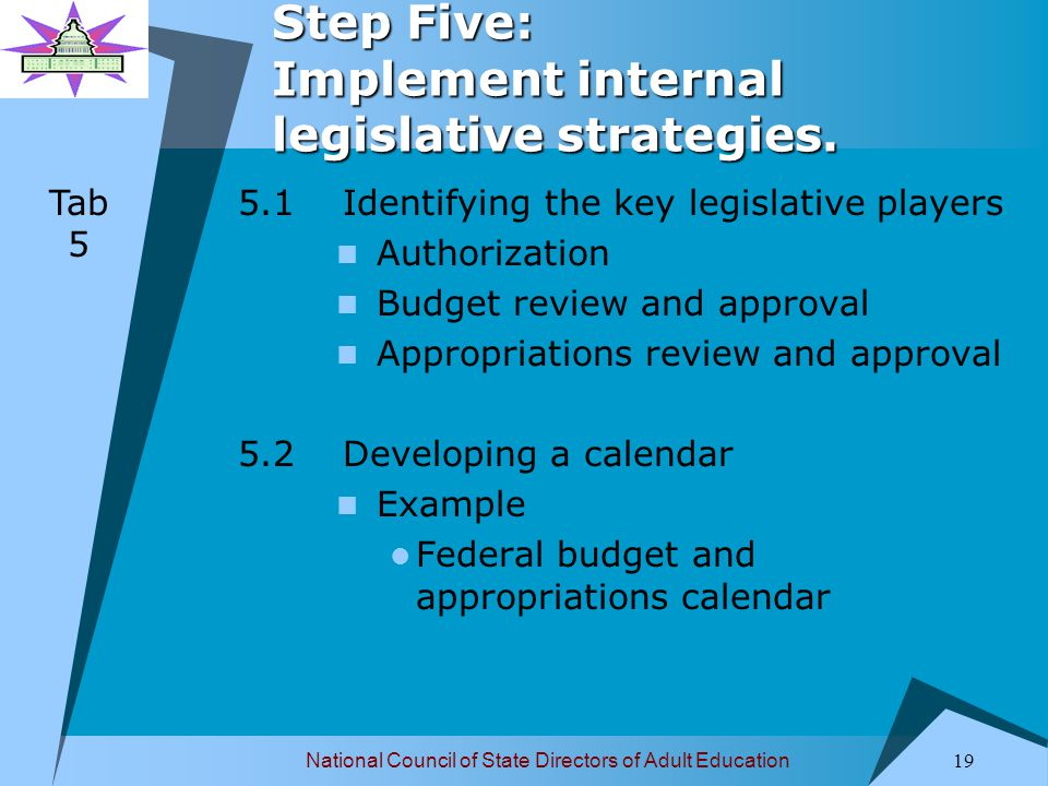 National Council of State Directors of Adult Education 20 Step Five: Implement internal legislative strategies.