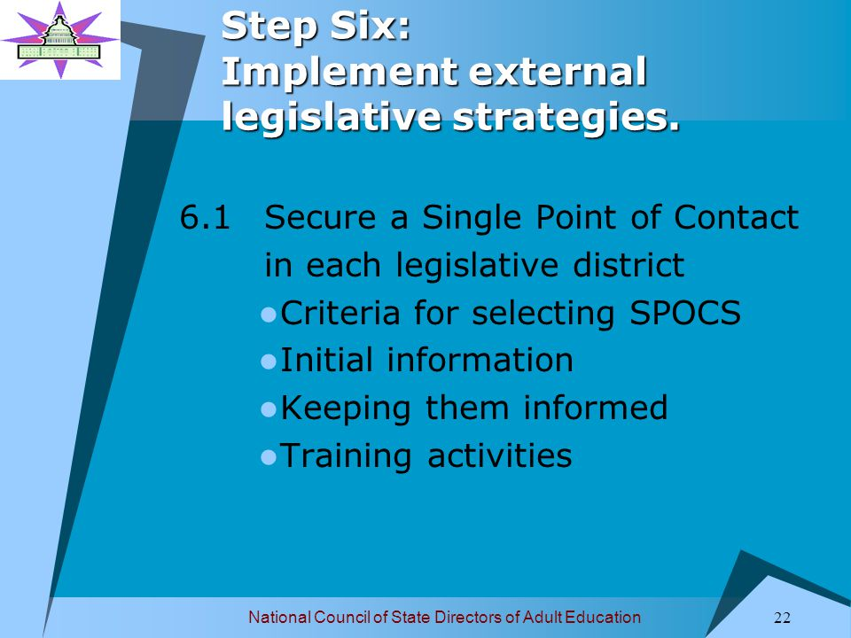 National Council of State Directors of Adult Education 23 Step Six: Implement external legislative strategies.