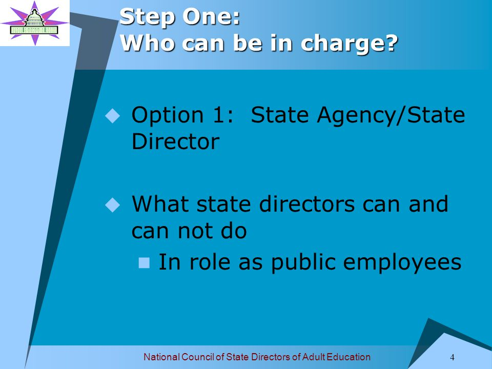 National Council of State Directors of Adult Education 5 Step One: Who can be in charge.