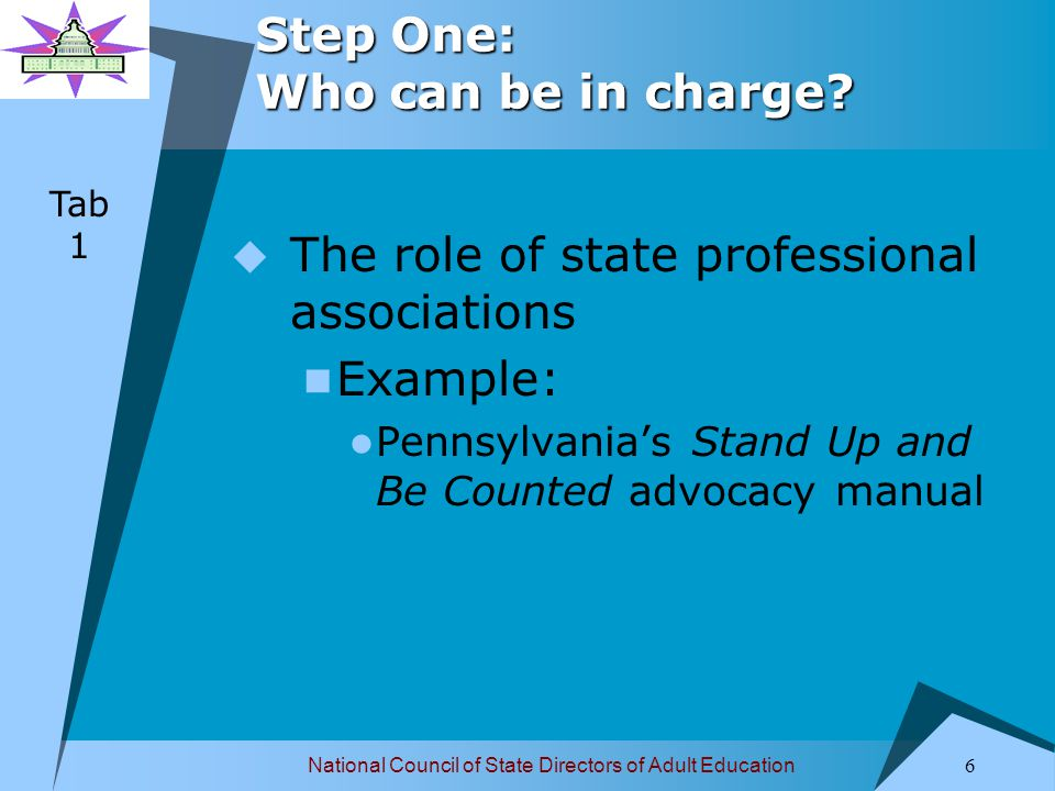 National Council of State Directors of Adult Education 7 Step One: Who can be in charge.