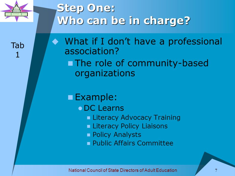 National Council of State Directors of Adult Education 8 Step Two: Specify the message.