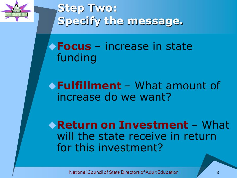 National Council of State Directors of Adult Education 9 Step Two: Specify the message.