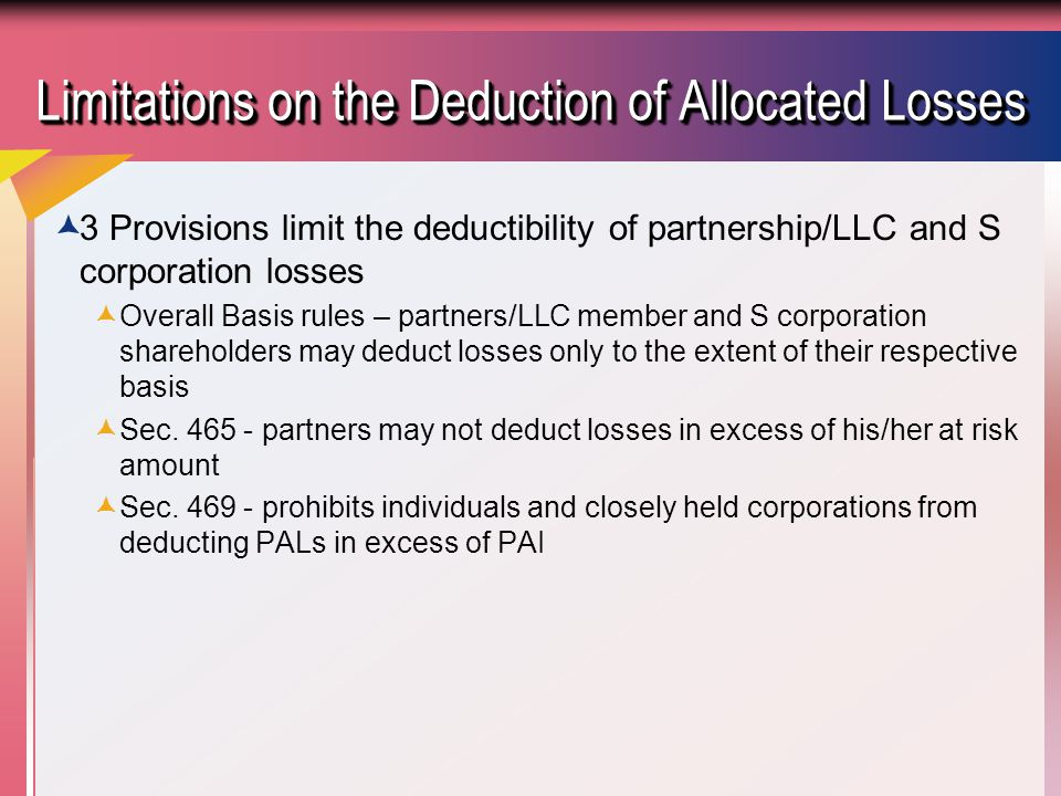 Section 704(d)  A partners deduction cannot exceed his/her total investment including share of debt.
