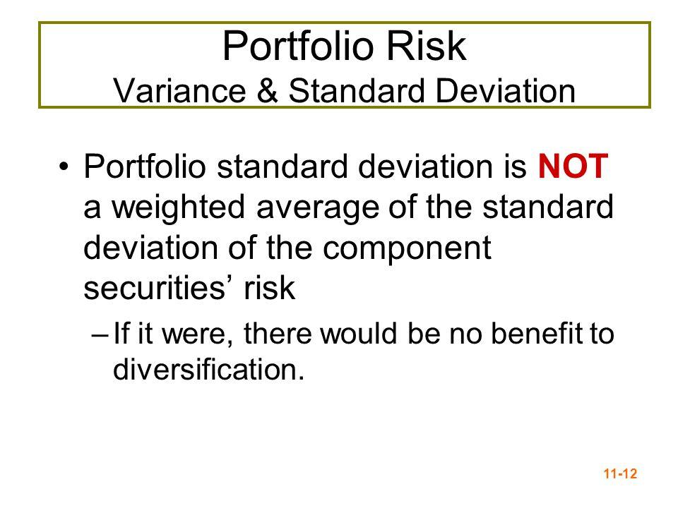 11-13  of n-Stock Portfolio  Subscripts denote stocks i and j  i,j = Correlation between stocks i and j  σ i and σ j =Standard deviations of stocks i and j  σ ij = Covariance of stocks i and j