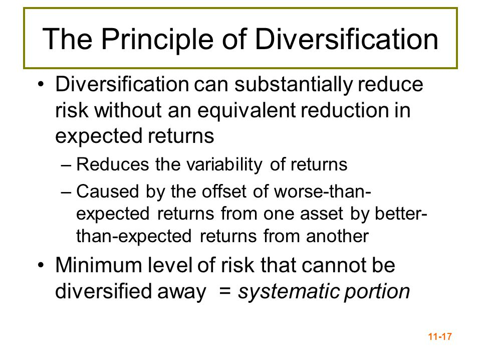 11-18 Total Risk = Stand-alone Risk Total risk = Systematic risk + Unsystematic risk –The standard deviation of returns is a measure of total risk For well-diversified portfolios, unsystematic risk is very small  Total risk for a diversified portfolio is essentially equivalent to the systematic risk