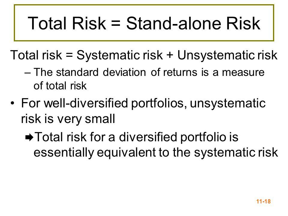 11-19 Systematic Risk Principle There is a reward for bearing risk There is no reward for bearing risk unnecessarily The expected return (market required return) on an asset depends only on that asset's systematic or market risk.