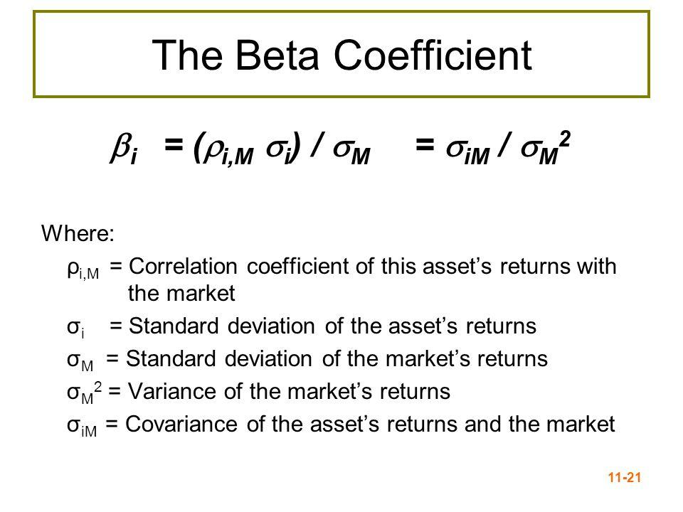 11-22 Interpretation of beta If  = 1.0, stock has average risk If  > 1.0, stock is riskier than average If  < 1.0, stock is less risky than average Most stocks have betas in the range of 0.5 to 1.5 Beta of the market = 1.0 Beta of a T-Bill = 0