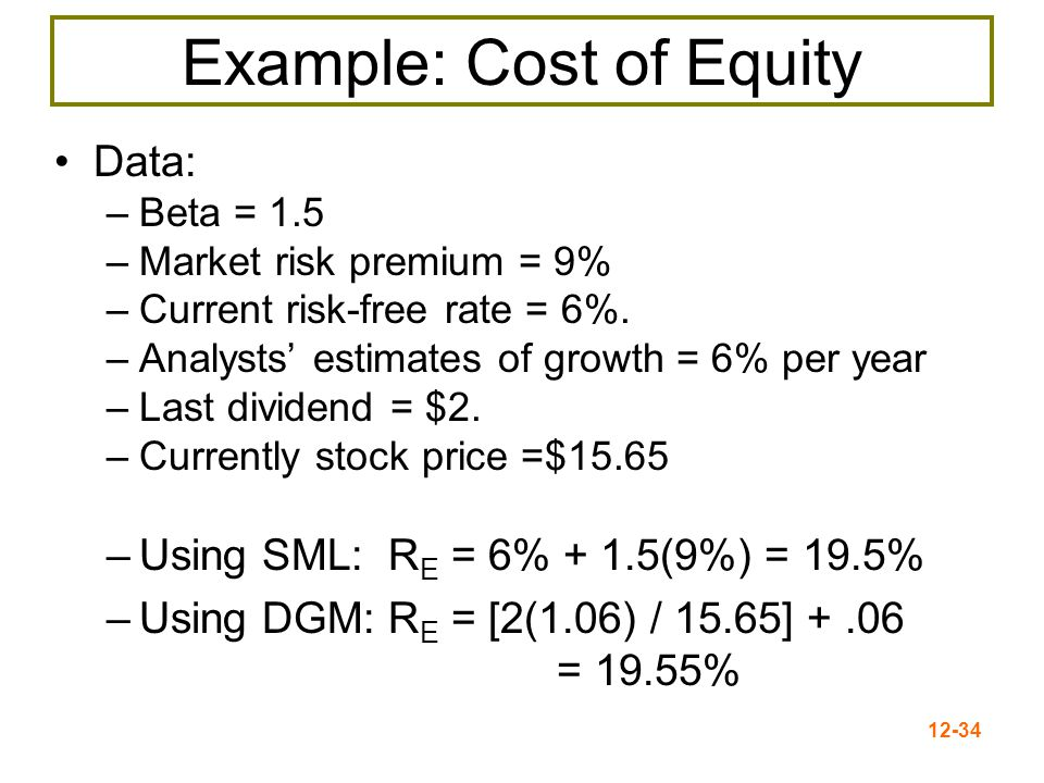 12-35 Cost of Debt The cost of debt = the required return on a company's debt Method 1 = Compute the yield to maturity on existing debt Method 2 = Use estimates of current rates based on the bond rating expected on new debt The cost of debt is NOT the coupon rate