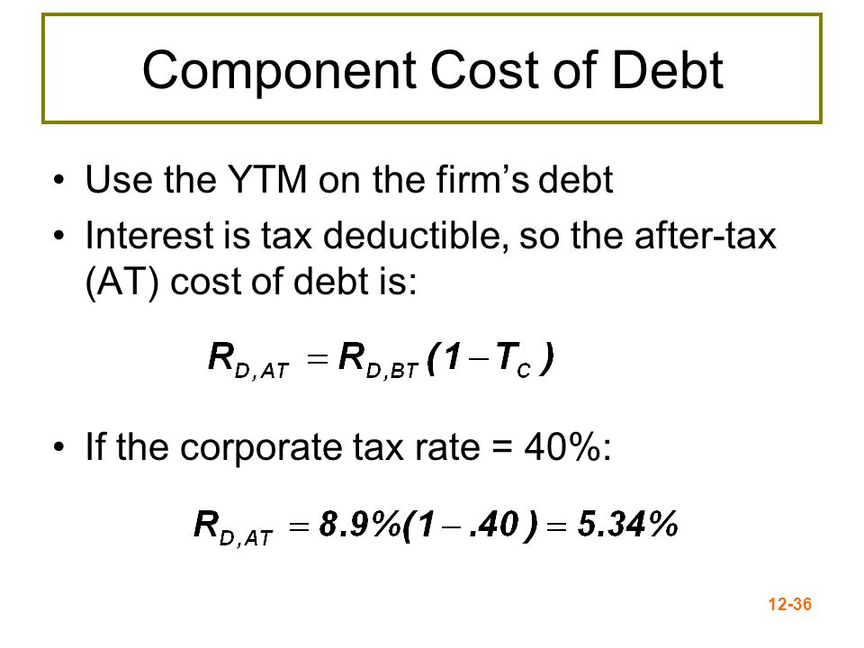 12-37 Weighted Average Cost of Capital Use the individual costs of capital to compute a weighted average cost of capital for the firm This average = the required return on the firm's assets, based on the market's perception of the risk of those assets The weights are determined by how much of each type of financing is used