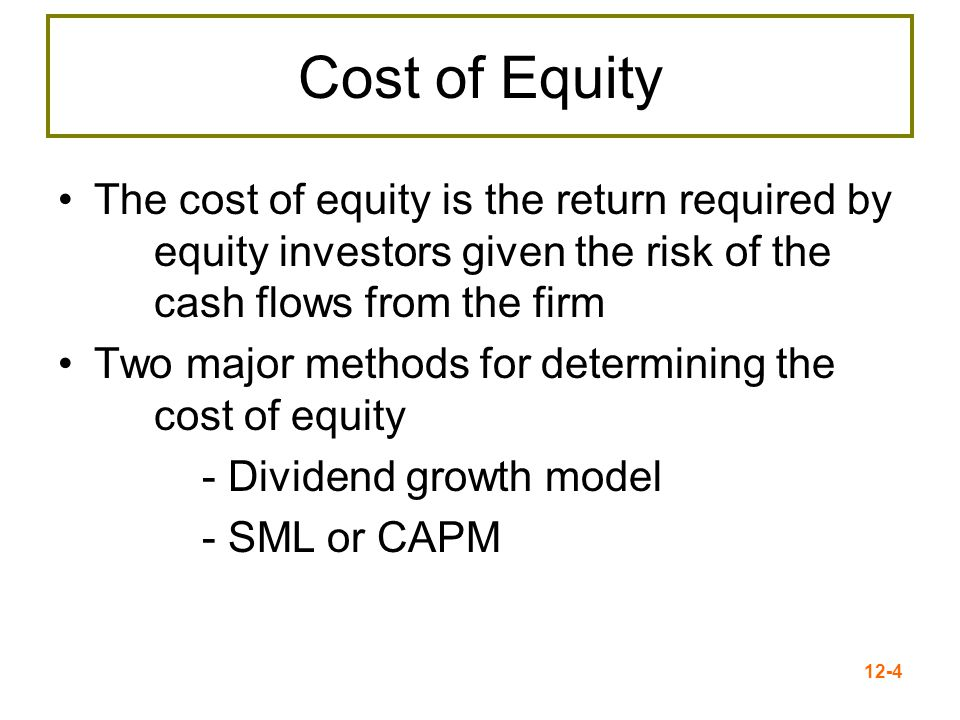 12-5 The Dividend Growth Model Approach Start with the dividend growth model formula and rearrange to solve for R E