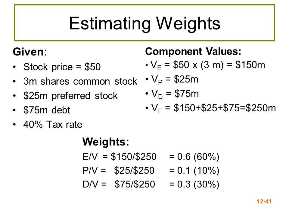 12-42 WACC WACC = 0.6(14%)+0.1(9%) +0.3(10%)(1-.40) WACC = 8.4% + 0.9% + 1.8% = 11.1% ComponentWR Debt (before tax)0.3010% Preferred Stock0.109% Common equity0.6014% WACC = E/V x R E + P/V x R P + D/V x R D (1- T C )
