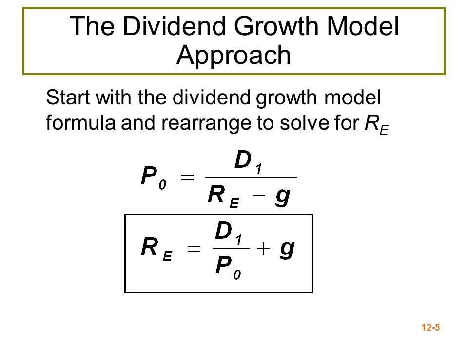12-6 Advantages and Disadvantages of Dividend Growth Model Advantage – easy to understand and use Disadvantages –Only applicable to companies currently paying dividends –Not applicable if dividends aren't growing at a reasonably constant rate –Extremely sensitive to the estimated growth rate –Does not explicitly consider risk