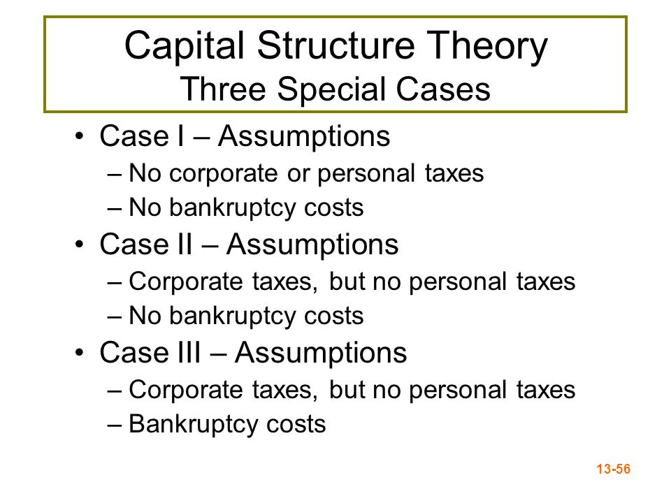 13-57 Case I – Propositions I and II Proposition I –The value of the firm is NOT affected by changes in the capital structure –The cash flows of the firm do not change; therefore, value doesn't change Proposition II –The WACC of the firm is NOT affected by capital structure