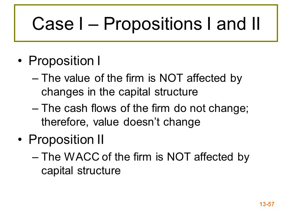 13-58 Case I - Equations WACC = R A = (E/V) x R E + (D/V) x R D R E = R A + (R A – R D ) x (D/E) R A = the cost of the firm's business risk (i.e., the risk of the firm's assets) (R A – R D )(D/E) = the cost of the firm's financial risk (i.e., the additional return required by stockholders to compensate for the risk of leverage)