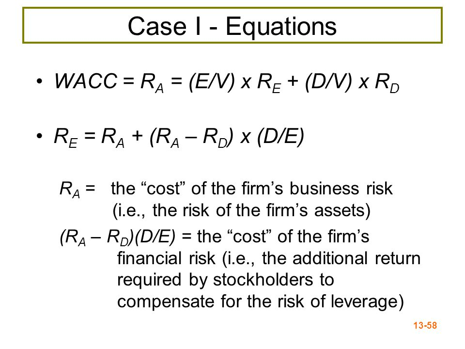 13-59 M&M Propositions I & II Figure 13.3 The change in the capital structure weights (E/V and D/V) is exactly offset by the change in the cost of equity (R E ), so the WACC stays the same.