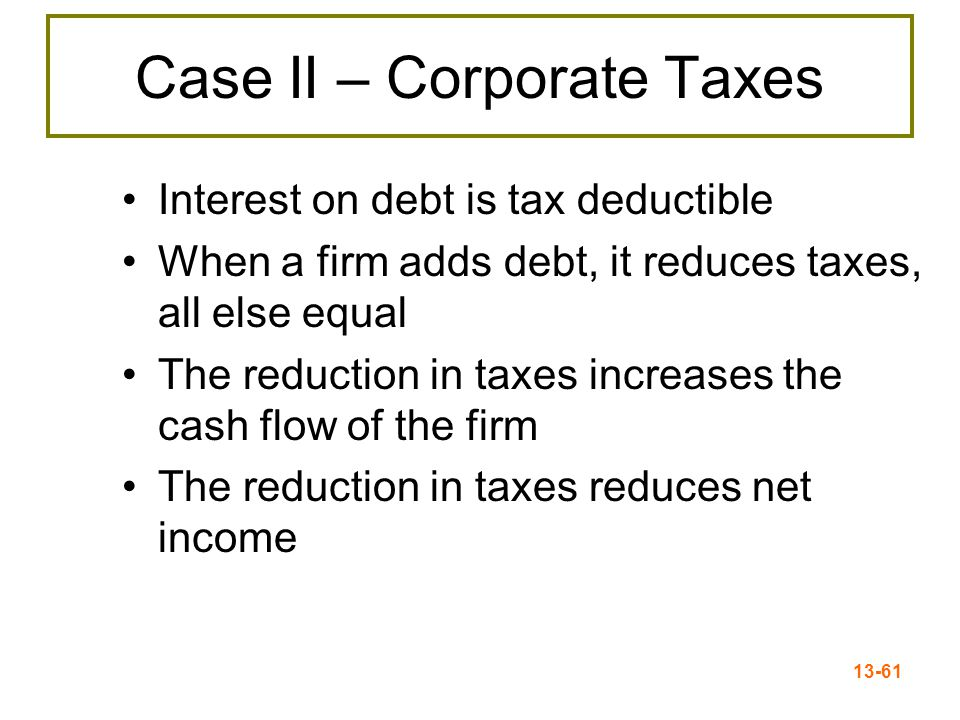 13-62 Case II - Example Interest Tax Shield = $24 per year