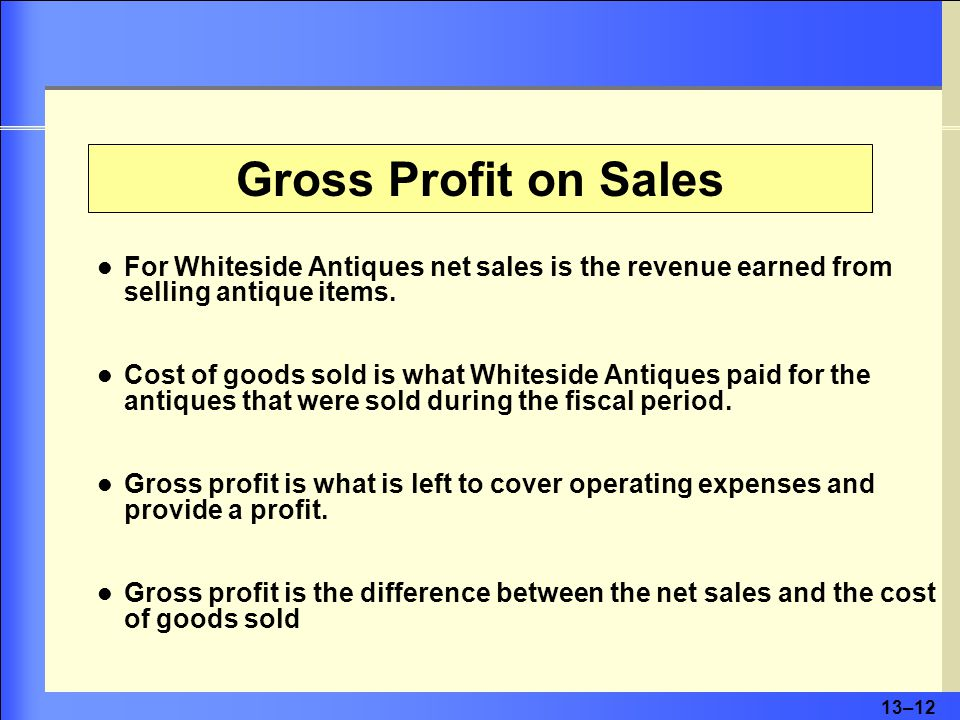 13–13 Gross profit on sales for Whiteside Antiques