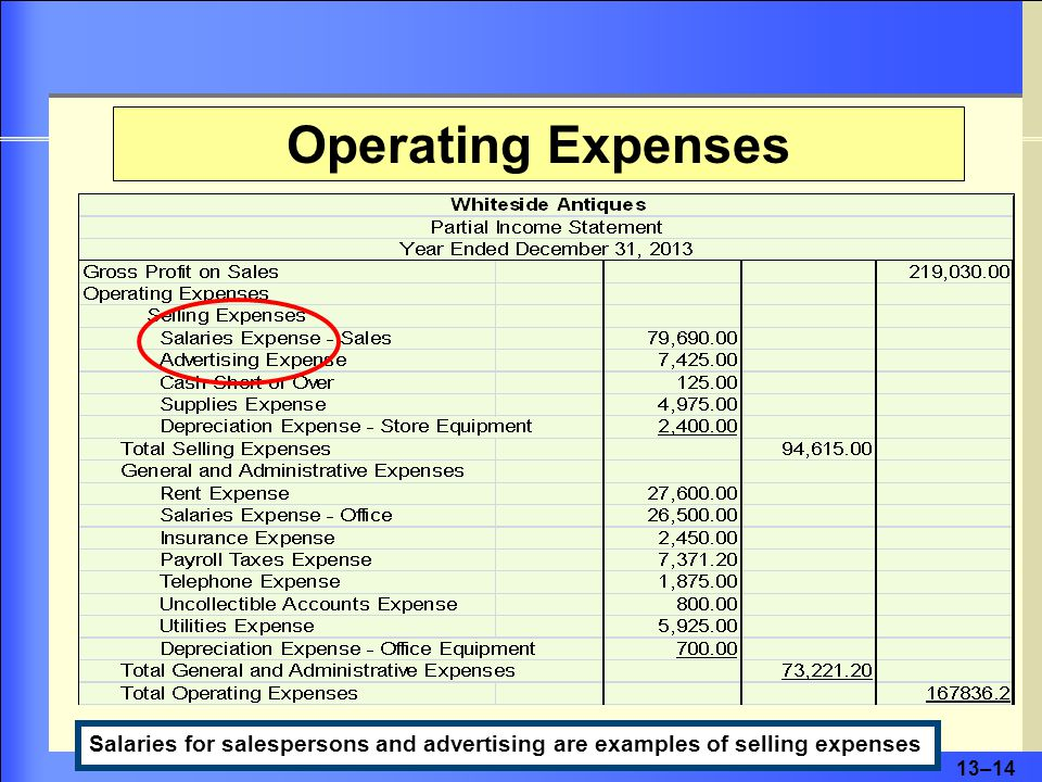 13–15 Operating Expenses Rent, utilities, and salaries for office employees are examples of general and administrative expenses