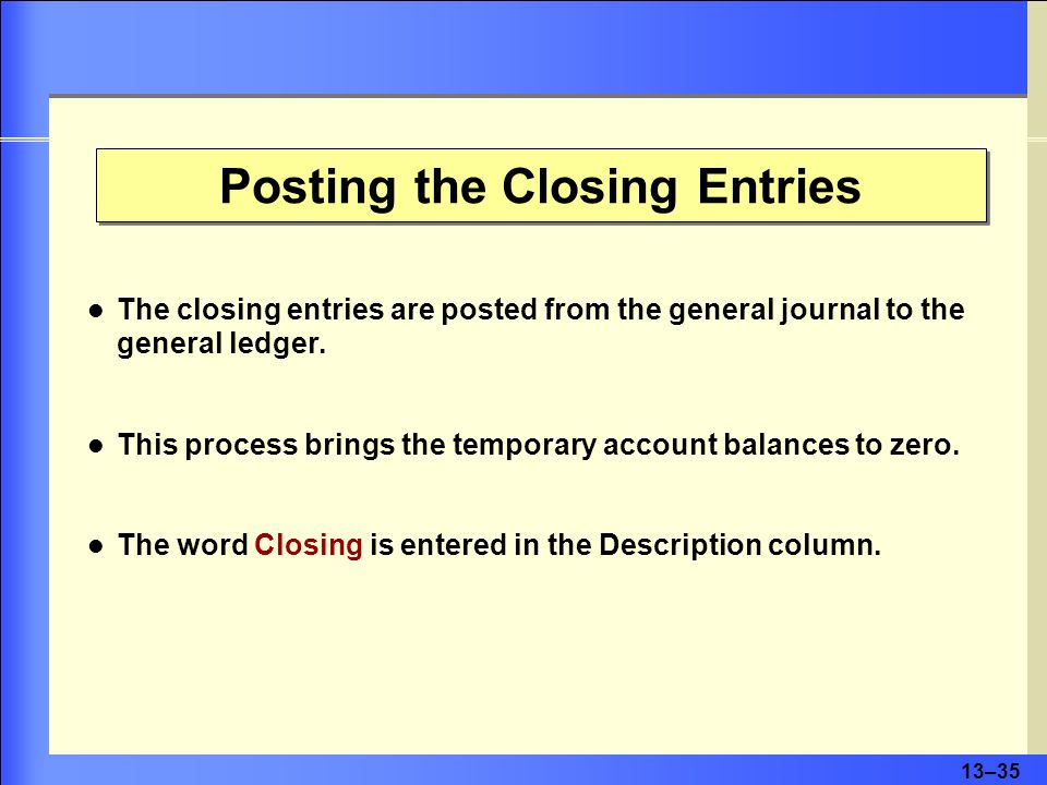 13–36 Preparing a Postclosing Trial Balance Prepare a postclosing trial balance to confirm that the general ledger is in balance.