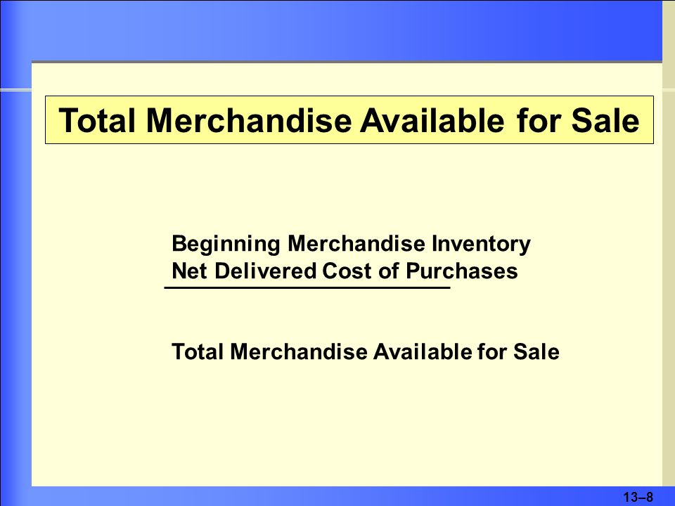 13–9 Cost of Goods Sold Beginning Merchandise Inventory Net Delivered Cost of Purchases Cost of Goods Available for Sale Less Ending Inventory Cost of Goods Sold