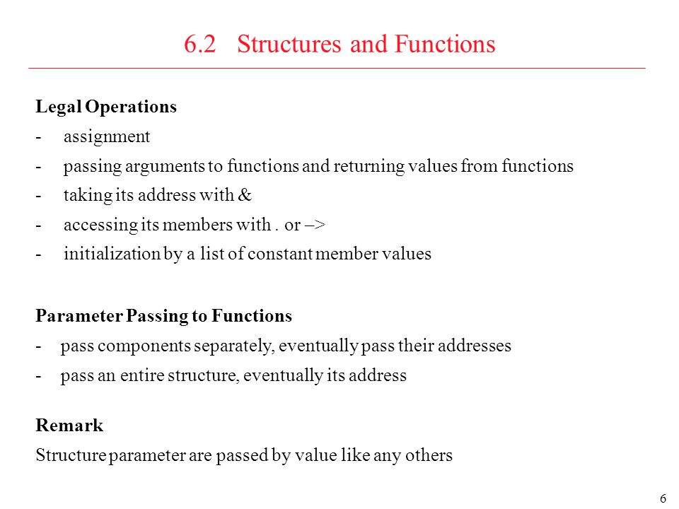 7 6.2 Structures and Functions : example 1 #define min(a, b) ((a) < (b) .