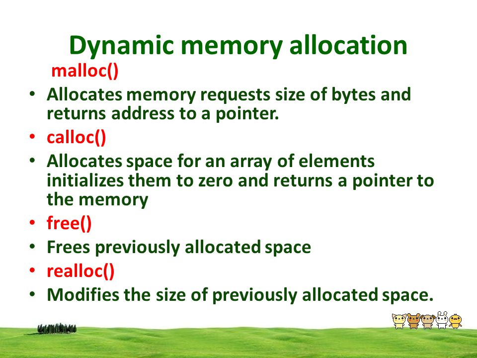 Dynamic memory allocation Memory allocations process The memory is divided into 3 Stack Heap Permanent storage Memory space stack used to allocate static memory allocations ie ordinary variables & arrays Permanent storage is used to store program code Heap is used to allocate dynamic memory allocations Heap is depended to stack & code Stack Heap Permanent Storage