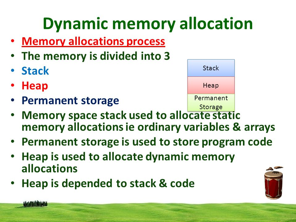 Dynamic memory allocation Memory allocations process The free memory region is called the heap.