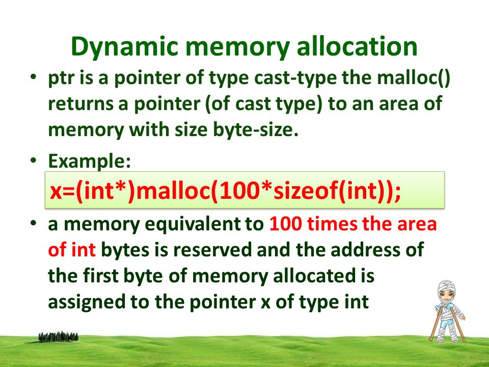 Dynamic memory allocation Allocating multiple blocks of memory Calloc is another memory allocation function that is normally used to request multiple blocks of storage each of the same size and then sets all bytes to zero.