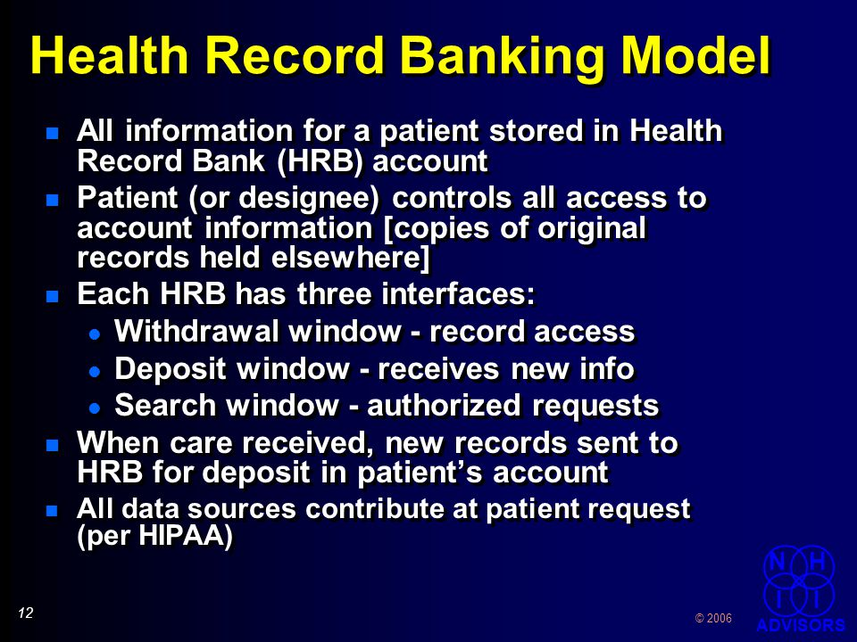 13 © 2006 NH I I ADVISORS Clinical Encounter Health Record Bank Clinician EHR System Encounter Data Entered in EHR Encounter data sent to Health Record Bank Patient Permission.