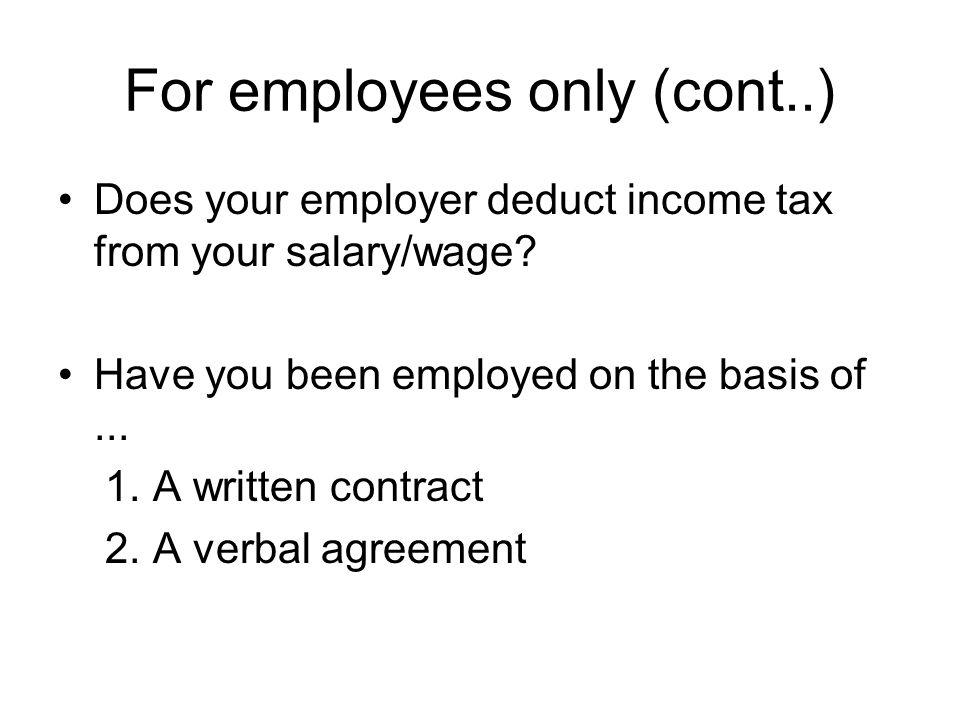 For employees only (cont..) Is the contract or agreement of a.....