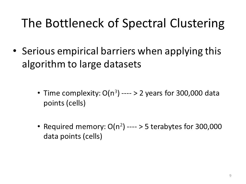 Faithful Sampling: Our Solution for Applying Spectral Clustering to Large Data Uniform Sampling: Low density populations close to dense ones may not remain distinguishable 10 Faithful Sampling: Tends to choose more samples from non-dense parts of the data.