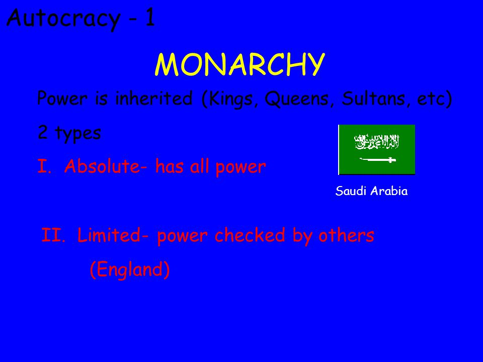 Autocracy-2 Constitutional Monarchy Ruler shares power with elected body, must follow a written constitution.