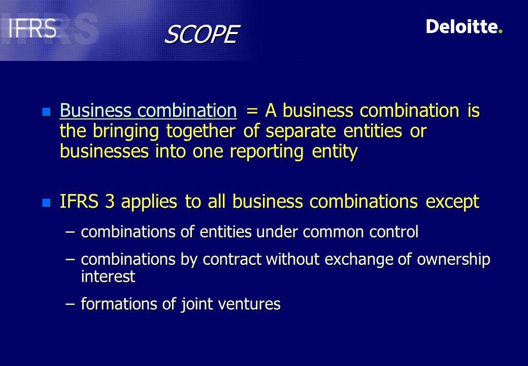 APPLICATION OF THE PURCHASE METHOD n All business combinations are accounted for by the purchase method n Applying the purchase method An acquirer is identifiedAn acquirer is identified The cost of the business combination is measuredThe cost of the business combination is measured The cost is allocated, at acquisition, to the assets, liabilities and contingent liabilitiesThe cost is allocated, at acquisition, to the assets, liabilities and contingent liabilities