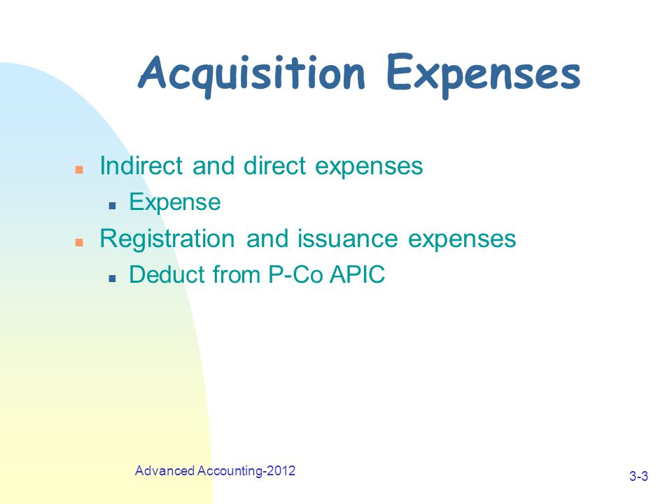 Advanced Accounting-2012 3-4 Acquisition Process n Step 1: Review transaction & prepare investment analysis n Step 2: Record transaction on P Co.