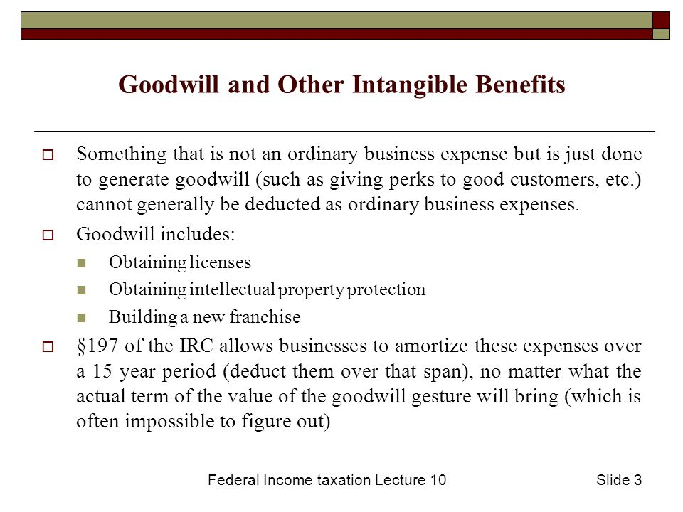 Federal Income taxation Lecture 10Slide 4 What is an ordinary and necessary business expense.