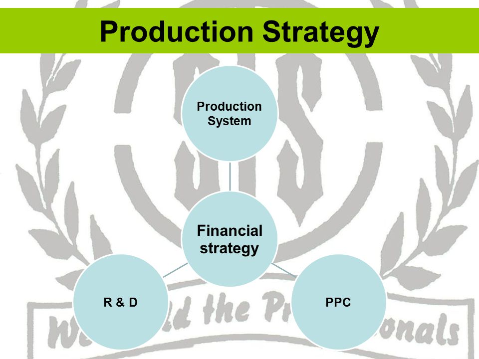 Production System :~ – It is concerned with – Capacity Location Layout Product design Degree of automation.