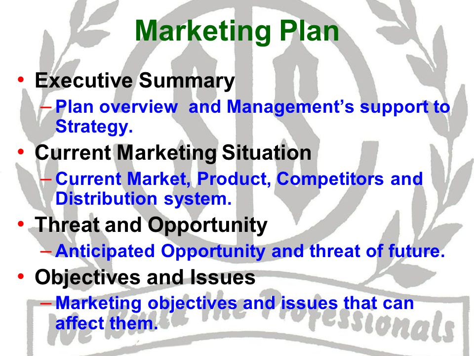 Marketing Strategy – Strategy to be followed for all marketing mix.